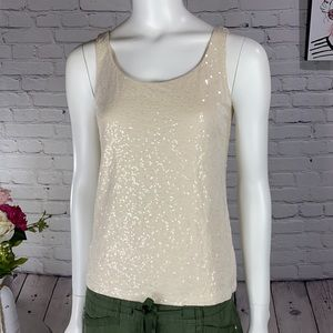 TALBOTS Cream Sequined Tank Top Size: Small
